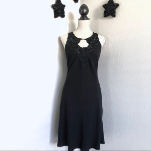 Donna Morgan Black Appliqué Neckline Dress 4